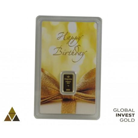 Ingot of Gold DEGUSSA Happy Birthday