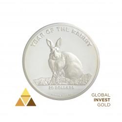 20 Onza de Plata 20$ Año del Conejo