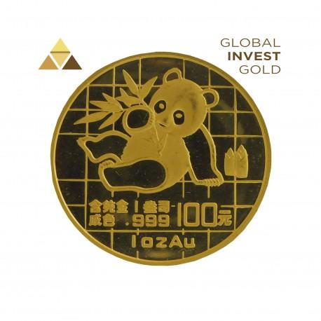 1 Oz Gold Panda Leaning on Paw 31.10 g 1989