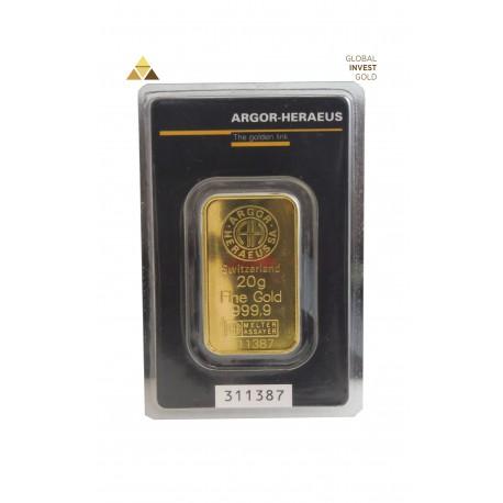 Gold Ingot 20 g Argor-Heraeus